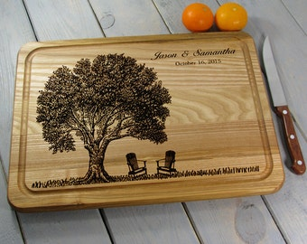 Personalized Cutting Board Custom Cutting Board Wedding Gift, Wedding Tree With Adirondack Chairs Housewarming, Anniversary Gift With Groove