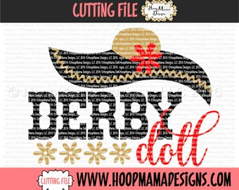 Derby Doll SVG DXF eps and png Files for Cutting Machines Cameo or Cricut Kentucky Horse Race