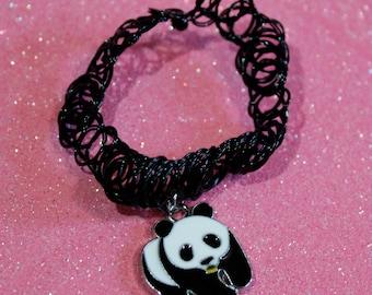 Panda Choker, Panda Necklace,Panda Jewelry, Black Tattoo Choker with charm, Black tattoo choker with panda,