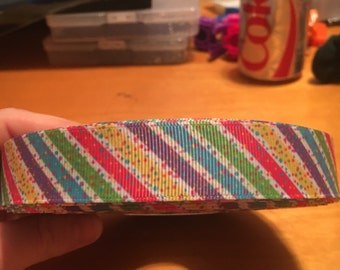 Sprinkle stripe 7/8 inch grogain ribbon