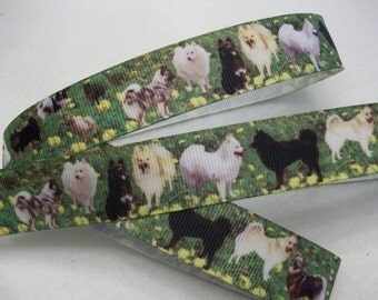 "SPECIAL - Buy 10Y for 4 Dollars -Dog Grosgrain Ribbon 7/8"""