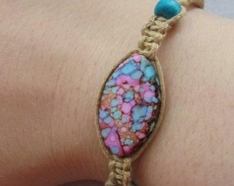 Macrame surfer stacking  bracelet with unique beads, boho hippie accessories, handmade hemp cord friendship bracelet.