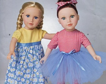 "Free Us Ship Simplicity 1192 Out of Print 18"" Doll Clothes Dance Tutu Dress New Sewing Pattern Fits American Girl Size"