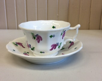 Bone China cup and saucer with purple flowers