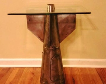 Industrial Bomb End Table Iron Real US Bomb Tail Stock
