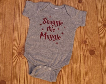 snuggle this muggle, harry potter baby body suit, harry potter baby outfit, harry potter baby clothes, snuggle this muggle body suit