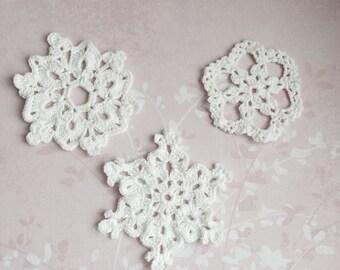 Set of 3 snowflakes, crochet snowflake, chrochet snowflake