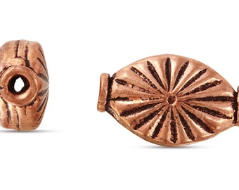 5 Pcs 9x15 mm Copper Bali Style Oval Shaped Beads With Starburst Design (CP5001022)