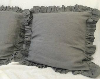 Medium Grey Ruffle pillow covers, linen ruffle pillow covers, accented pillow covers, sham covers, pillow protector