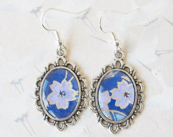 Sakura earrings in silvery metal and japanesse paper, flower jewelry, sakura earrings, sakura jewelry, japanese jewelry