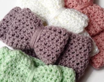 Crochet Bow Headwrap - Crochet Ear Warmer - Crochet Bow Headband - Crochet Headband - Crochet Head Wrap - Infant Headband - Toddler Crochet