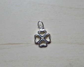 Sterling Silver (925) 10mm Open Heart/Four Leaf Clover Charm/Pendant