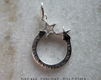 "Sterling Silver (925) - 17mm ""Dream Explore Discover"" Star Pendant"