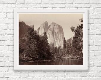 Yosemite - Yosemite Valley - Cathedral Rocks - Carleton Watkins - Black and White - Landscape Photograph - Fine Art Photograph - Park