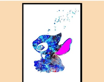ON SALE 50% OFF Stitch inspired, Stitch from Lilo and Stitch, Watercolor print, watercolor painting, for childrens, Kids Room Decor, Poster,