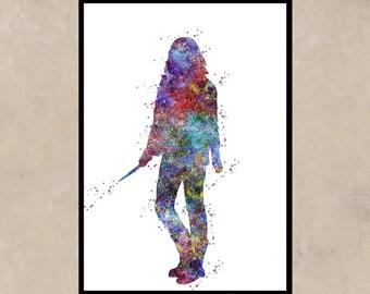 Hermione Granger,  Harry Potter, Watercolor print, for childrens, Kids Room Decor, Poster, print  (10)