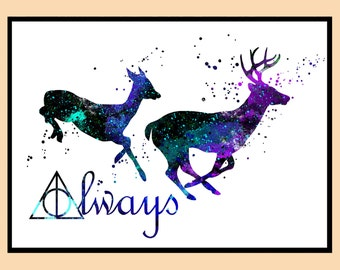 Harry Potter, Stag Patronus, watercolor print, always together ,Kids Room Decor,Poster, wall art, print, gift  (16)