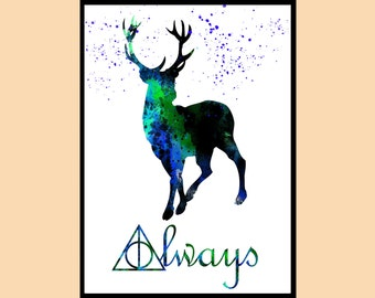 Harry Potter, Stag Patronus, watercolor print,  watercolor painting, aquarelle, for childrens, Instant Download