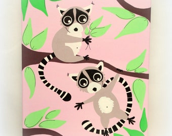 """Table room baby girl or boy, """"Lemurs Scamps"""", 41x33cm"""