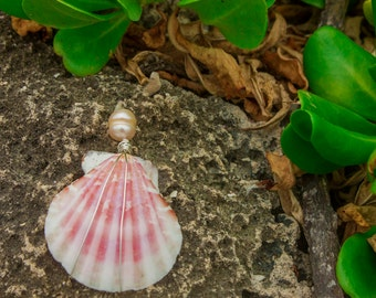 Large Pink Shell and Fresh Water Pearl Necklace