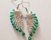 These micro macrame earrings are knotted by hand