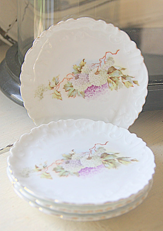 Set of Four Beautiful Vintage Brussels Porcelain Small Pastry Plates, Cake Plates, Pastel Flower Decor, Textured, Handpainted