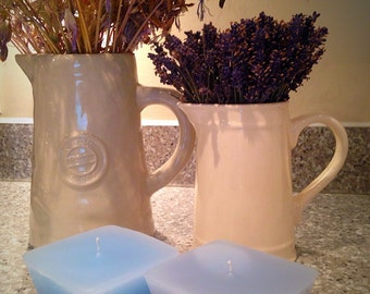 Set of two ocean blue/brown candles