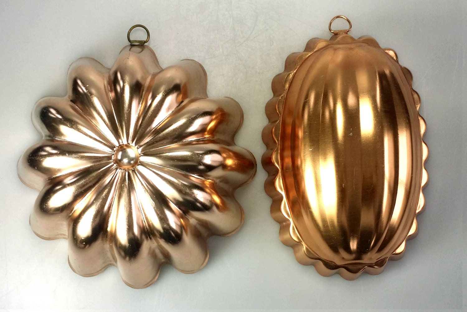 Lot Of 2 Copper Tint Baking Pan Jello Mold Squash Round