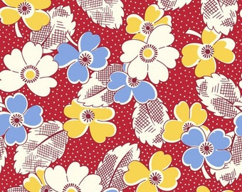 Feedsack Floral Print Blue, Yellow, White, Red - Reproduction 1930s - by the Half Yard