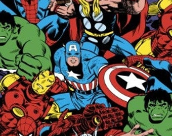Marvel Comics Superheroes Packed - by the Half Yard