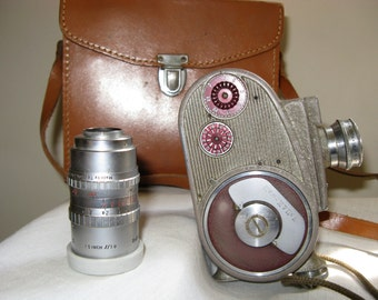 SALE!! Bell & Howell 134 8 mm Movie Camera With Leather Case and Additional Lens~~Vintage Movie Camera~With Manuel
