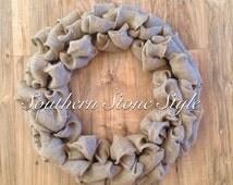 Basic burlap wreath, DIY burlap wreath, simple burlap wreath, plain burlap wreath, burlap wreath kit