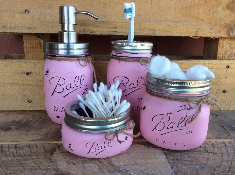 Set of 4 5 painted mason jars mason jar bathroom set home for Bathroom accessories jars