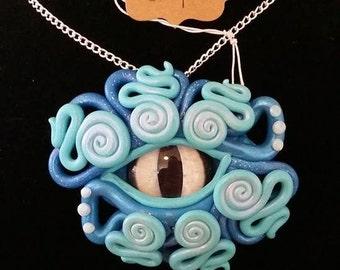Indigo Sky dragon eye polymer clay necklace pendant