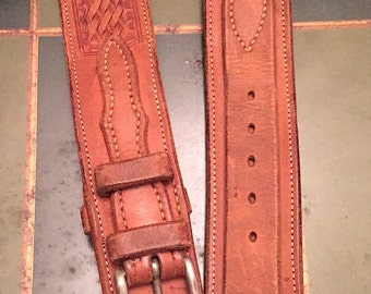 Vintage 1970s Brown Tooled Braided Leather Corset Belt