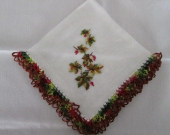 Beautiful Vintage Handkerchief With Fall Leaves And Pretty Crocheted Edgings