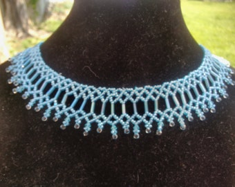 Beautiful Bugle, Fringe, Bicone and Seed Bead necklace