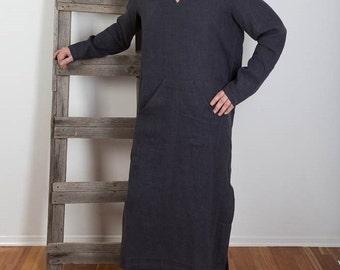Mens Linen Caftan Night Shirt Long shirt  Homewear Hooded Linen Robe Linen Beach wear Linen Caftan Custom order