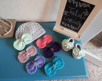 Crochet Bow Beanie and Crochet Bow Bootie Set-Pretty Bow Beanie/Bootie Set