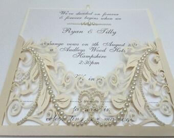 PEARL Handmade Lasercut Wedding Invitation