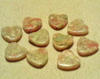 Autumn jasper beads; pretty Autumn Jasper, carved heart beads, 10x10x2.5mm, 5-10pcs/1.80-3.60.