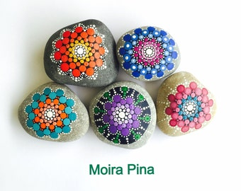 Set of 5 handpainted Mandala Sea Pebbles in bright colors, Home decor, Coffee table decor
