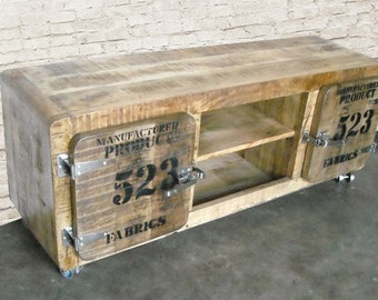 Industrial-Vintage TV Stand, Reclaimed Wood Frige Media Cabinet. Urban loft furniture.