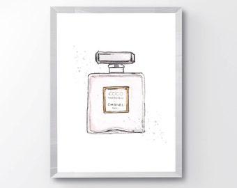 Pink Perfume Bottle Fashion PRINTABLE - Fashion Perfume Print - Watercolor Perfume Print - Perfume Wall Art - Girls Room Print