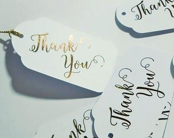 Gift Tags - Thank You - Gold Foil - Pack of 12