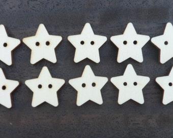 10 x Wooden Star Buttons Laser Cut