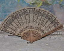 Antique Victorian French Silk Sequin Fan, To be Repaired, Hand Held Fan, Sequins Silk, Wooden Sticks, Paris Boudoir Decor, Made in France