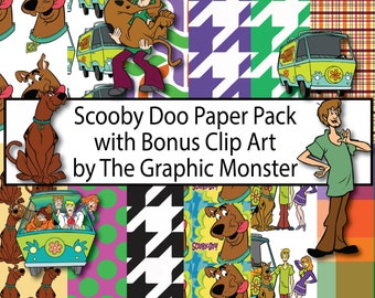 Scooby Doo Digital Paper, Scooby Scrapbook Paper, Scrapbook Paper, Instant Download, Digital, Scooby Doo Scrapbook, Scooby Paper