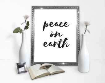 Peace on Earth Poster - Peace Poster - Earth - World Peace - Downloads - Classy Poster - Minimal - Decoration - Instant Download