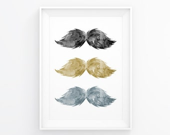 Mustache Wall Art. Mustache Decor. Mustache Decal. Mustache Print. Mustache Decoration. Mustache Art. Hipster Art. Gold Art. Mustache Trio